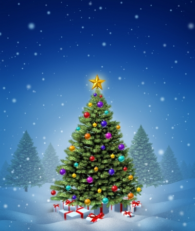 undecorated: Christmas winter tree decorated with ornate decorative balls and gifts with red ribbons and bows as a seasonal symbol of winter celebration and festive new year on a cold snowing night