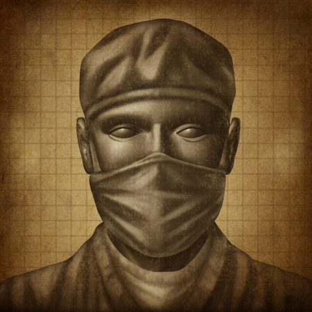 health care concept: Doctor with a surgical Mask on an old grunge texture as a health care concept for medical emergency surgery and physician specialist in hospital services