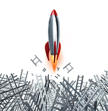 destined: Drive and passion with a persistant determination for business and financial success with a rocket breaking through ladder obstacles on a white background  Stock Photo