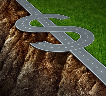 unsure: Financial cliff or fiscal risk and dangerous challenges regarding the risk in investing and finance management pit falls with a highway in the shape of a dollar symbol on the edge of a hazardous cliff  Stock Photo