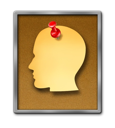 Human paper note reminder in the shape of a head as a blank yellow sheet and a red thumb tack pin on a cork board frame as a health care dementia symbol of memories and a business schedule reminder  Stock Photo - 16689735