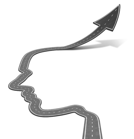 free your mind: Intelligent planning career education symbol with a road in the shape of a human head turning into an upward arrow taking off as an icon of success and future opportunities on white  Stock Photo