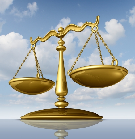 Justice scale of law made of chrome metal on a sky background as a symbol of the legal system in government and society in enforcing rights and regulations  photo