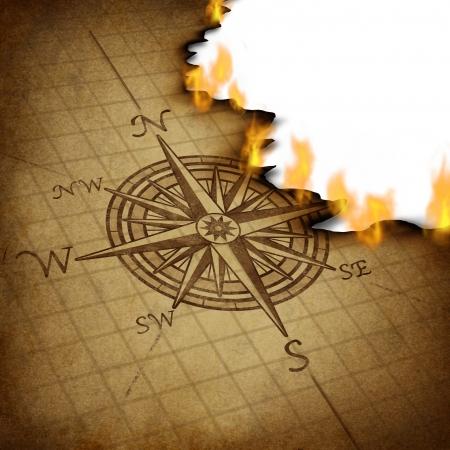 Het verliezen van richting en slechte business planning en strategie met een kompasroos navigatie-symbool op een oude grunge perkament textuur branden in vlammen zo verward begeleiding