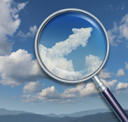 Search for opportunity and discovery of chances for business success with a visionary ability as a magnifying glass on a sky with an upward arrow shaped cloud