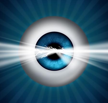 pr�voyance: Visionnaire et de pr�voyance dans le futur et un aper�u de la cr�ativit� et de l'innovation par l'�ducation et la strat�gie d'affaires avec un globe oculaire humain et une lumi�re rougeoyante �clater Banque d'images