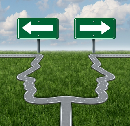 business dilemma: Career decision at a cross roads showing a fork in the road in the shape of two human heads as a the concept of a job dilemma choosing the direction to go when facing two equal or similar business options  Stock Photo