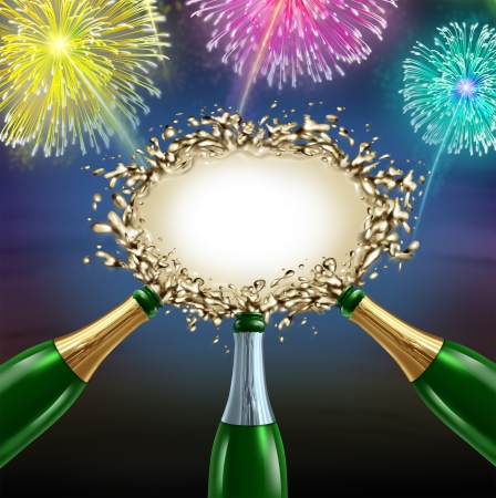champagne pop: Celebrating message with uncorked exploding champagne bottles splashing sparkling wine into the center as a shape of a blank sign with fireworks for an important happy fun celebration communication