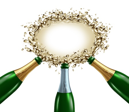 Celebration blank sign with three uncorked exploding champagne bottles with bubbling wine splashing forward to form a liquid signage  for celebrating an important occasion  Stock Photo