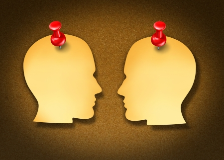 Communication Network strategy with two blank yellow office notes and red thumb tacks in the shape of human heads face to face in a social exchange of information on white Stock Photo - 16831823