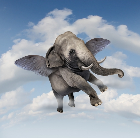 surrealistic: Potential and possibilities concept with a realistic elephant flying in the air using wings as a business symbol of achievement and belief in your abilities to succeed in upward growth  Stock Photo