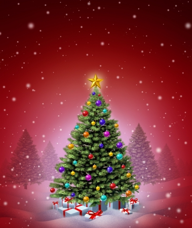 Red Christmas winter tree decorated with ornate decorative balls and gifts with ribbons and bows as a seasonal symbol of winter celebration and festive new year on a magical snowing night  photo