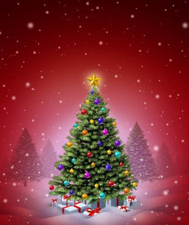 seasonal symbol: Red �rbol de invierno de Navidad decorado con bolas decorativas adornadas y regalos con cintas y lazos, como s�mbolo de celebraci�n estacional invierno y a�o nuevo festivo en una noche m�gica nevando