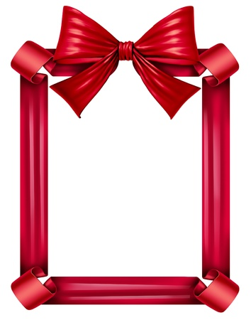 Red silk ribbon and bow as a frame for a seasonal decoration for gift giving during a celebration as Christmas birthdays and anniversaries or valentine day isolated on a white background  Stock Photo - 16831803
