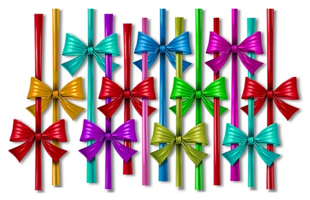 silk bow: Ribbon bow design element with a pattern of silk decorative color strands as a celebration of the Holidays including Christmas New years eve birthday parties and anniversaries on white
