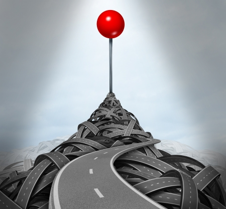 Achieving your goals and following the difficult challenging path to success with a mountain of tangled roads and highways leading to the top with a location red pushpin as a symbol of determination  Stock Photo - 16920767