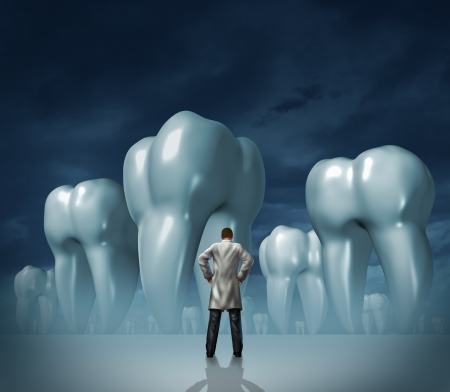 Dentist and dental care medical tooth health symbol of oral hygiene with a professional man in a white lab coat facing giant molar teeth on a dark foggy background  Stock Photo - 16920757