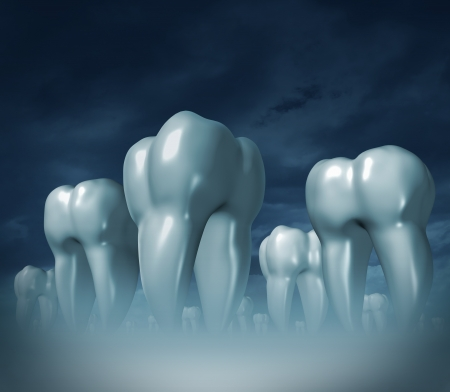 higiene bucal: Cuidado dental y s�mbolo m�dico de la salud dental de la higiene bucal con un paisaje cuidado de la salud de gigantes tres dientes molares dimensionales sobre un fondo oscuro niebla