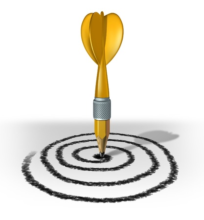 empowered: Plan your future and chart a course for success by creating a target and aiming for the bulls eye for financial and life success by drawing and planning a strategy with a yellow pencil in the shape of a dart  Stock Photo