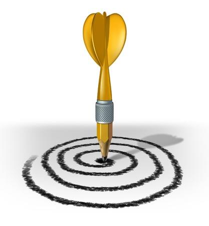 target thinking: Planee su futuro y trazar un camino hacia el �xito mediante la creaci�n de un objetivo y el objetivo para el ojo de los toros para el �xito financiero y la vida por el dibujo y la planificaci�n de una estrategia con un l�piz amarillo en forma de dardo Foto de archivo