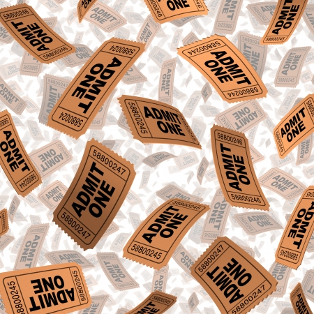 Admission tickets for movies and cinema film festival entertainment celebration concept with paper stubs flying in the air as a symbol of hollywood and independent film on white  Stock Photo