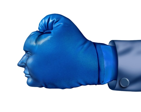 fierce competition: Business competitor and financial competitive advantage symbol with a blue boxing glove in the shape of a human head  as a leadership strategy and aggressive planning concept isolated on white