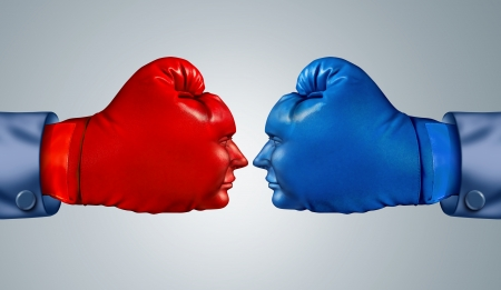 red competition: Business fight strategy with two boxing gloves in the shape of human faces head to head and facing each other as competitive rivals and opponents in a strtegic competition