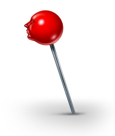 Career position concept with a red push pin in the shape of a human head as a symbol of finding your working splace in life with search and discovery on a white background  photo