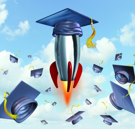 best schools: Education success with graduation hats thrown in the air as a celebration with a leading mortar board blasting off into the air in a rocket against a traditional hat toss for the graduate university and college students