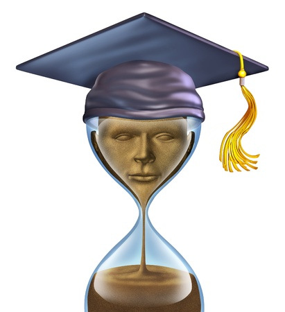 time critical: Graduation Countdown with a mortar cap on top of an hour glass and sands of time in the shape of a student head and as an education symbol of  completion of studies in school as  university or college  Stock Photo