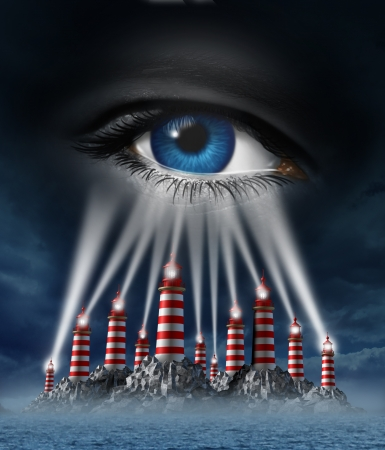 Group power with different ideas coming together for a common vision and team strategy for a creative unified business plan as light house towers beaming connected focus into a human eye on a storm sky  photo