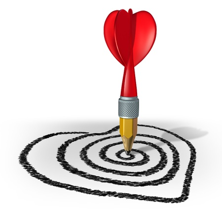 Love strategy and creating a target for a vision of the perfect date or marriage by drawing with a pencil shaped as a red dart on a target formed asa valentine heart on a whitebackground  Stock Photo - 17032197