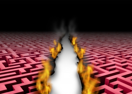 New thinking trailblazer as a business success symbol of a leader that blazes a new trail or path through a confusing maze or labyrinth by burning the obstacles with symbolic fire revealing a clear answer to a problem