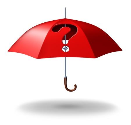 reclamos: Protecci�n de la incertidumbre y el riesgo con un paraguas rojo con un agujero a trav�s de �l en la forma de un signo de interrogaci�n como s�mbolo de estr�s de los desaf�os de seguridad del hogar o de la vida en t�rminos de cobertura dudas