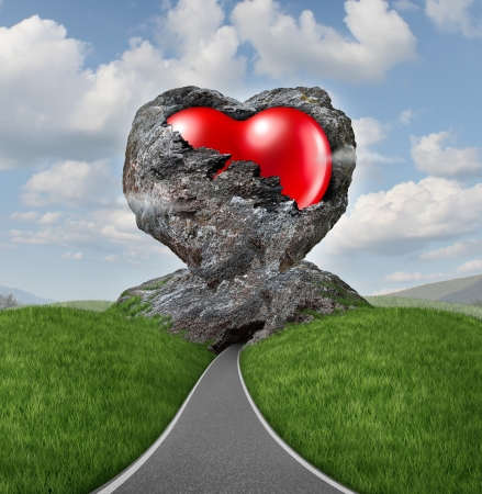 Relationship difficulties with a heart of stone breaking up to expose a red shaped valentine symbol as a diamond in the rough representing challenges of marriage and dating  Stock Photo - 17032257