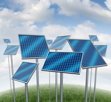 produce energy: Renewable energy with solar panels symbol of a photovoltaic power station technology or sun farm represented by a group of three dimensional structures on a summer sky  Stock Photo