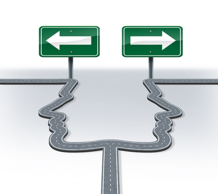 business dilemma: Strategy decisions and career choices at a cross roads with a fork in the road shaped as two human heads in a concept of a business dilemma choosing the direction to travel when facing two equal or similar options