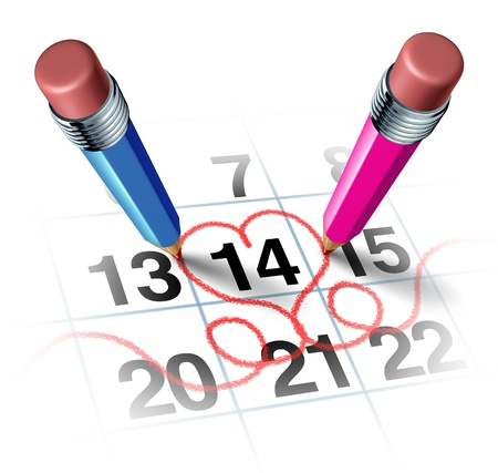 Valentines day with two three dimensional pencils in color blue and pink drawing a red heart shape around a calendar of Febuary the fourteen as a reminder of a romantic love concept for a date or marriage anniversary on white Stock Photo - 17032190