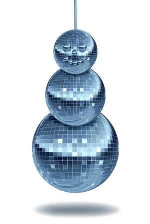 disco era: Winter party with holiday dance music symbol with night disco balls as a mirror sphere in the shape of a snowman for festive fun and new year dancing celebrations in a nightclub or club on white