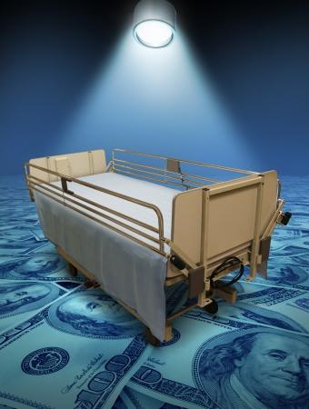 paciente en camilla: Gastos de hospital y de atención de los altos costos de inurance médico para el tratamiento de la cirugía o la medicina representado por una camilla sobre un suelo azul de dinero y un proyector que brilla en la cama