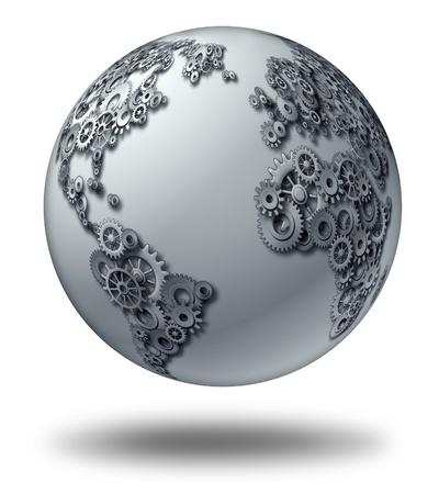国際グローバル ビジネスと世界経済パートナーシップ概念 3 次元球世界地図と形歯車と歯車、金融シンボルとインターネット通信