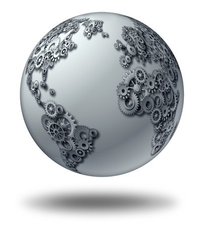 International global business and world economic partnership concept with a three dimensional sphere with  a world map shaped with gears and cogs as a financial symbol and internet communications  Stockfoto