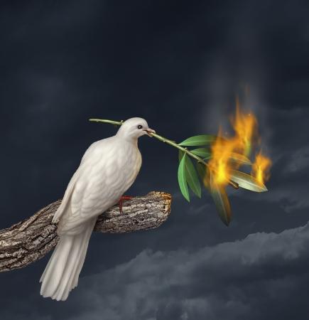 racismo: Paz concepto crisis con una paloma blanca que se coloca en un árbol que sostiene un ramo de olivo en el fuego como símbolo de los desafíos de la lucha contra la guerra y la revolución y la difícil búsqueda de una tregua o acuerdo en el Oriente Medio o en otros países en conflicto