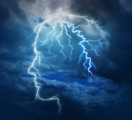 powerful creativity: Powerful intelligence with an electric lightning bolt strike in the shape of a human head illuminated on a storm cloud night sky as a brain function neurology health care symbol  Stock Photo