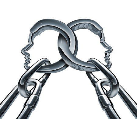 linked: Unity strength and business group partnership as two metal chains shaped as a three dimensional human head linked together in a strong team network for success isolated on a white background  Stock Photo