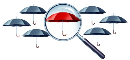Best protection concept as grey umbrellas with a magnifying glass focusing on a red one standing out from the crowd as a confident icon of security and safe financial peace of mind  스톡 콘텐츠