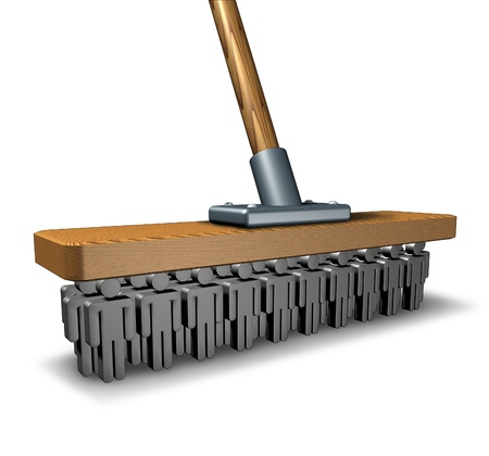 brooming: Office cleaning business and business management as a broom with human icons as bristols for reducing corporate waste and over spending with a group of people working as a team to manage costs  Stock Photo