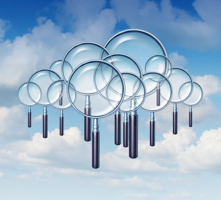 cloud search: Cloud Search and internet guide as a group of magnifying glasses in the cloudscape sky as a business and technology concept of searches on mobile communcation