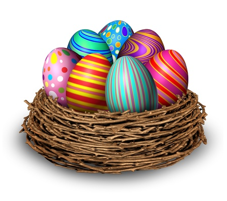 easter nest: Easter eggs nest holiday symbol decoration with seven multi colored festive spring ovals in a bird nest for celebration of a religious and traditional cultural event and an egg hunt on a white background  Stock Photo