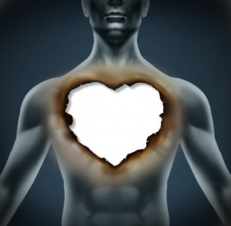 corazon roto: Dolor emocional y depresi�n como resultado de la ruptura de una relaci�n rom�ntica como un cuerpo humano con un papel quemado en la forma de un estr�s amor s�mbolo de coraz�n que representa y la desesperaci�n